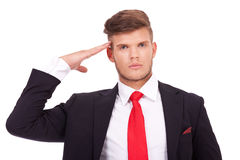 Business man salutes Royalty Free Stock Photography