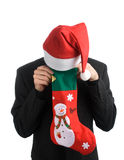 Business man in a Santa hat Stock Photo