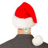 Business man with a santa hat, santa's crisis budget Royalty Free Stock Images
