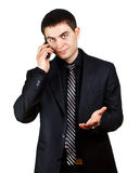 Business man says over the phone Stock Photos