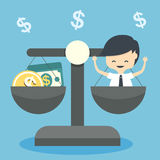 Business man with scales balance Stock Photo