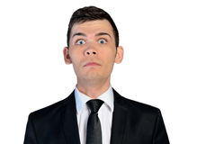 Business man scared face Royalty Free Stock Photos