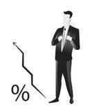 Business man. With schedule - describes development Stock Photos