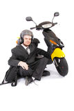 Business man scooter. Crazy business man on scooter Stock Photos