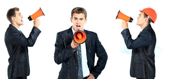 Business man screaming loudly Royalty Free Stock Image