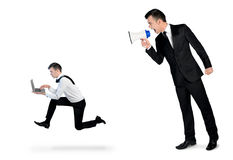 Business man screaming on megaphone Royalty Free Stock Photography
