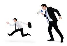 Business man screaming on megaphone Royalty Free Stock Photos
