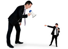Business man screaming on megaphone Stock Photography