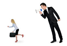 Business man screaming on megaphone Stock Images