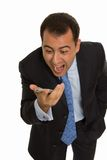 Business man screaming on the phone Stock Image