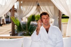 Business man in sea holiday Stock Image