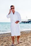 Business man in sea holiday Royalty Free Stock Image