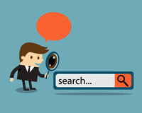 Business man with search engine button. Business man examines through a magnifying glass with search engine button Royalty Free Stock Images