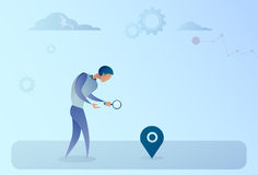Business Man Searching For Destination On Digital City Map Gps Navigation Concept Stock Photography