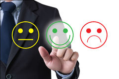 Business man select happy on satisfaction evaluation?. Business man select happy Royalty Free Stock Image