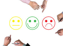 business man select happy on satisfaction evaluation? Stock Photo