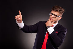 Business man selecting something Royalty Free Stock Photography