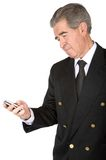 Business man sending an sms Stock Photo