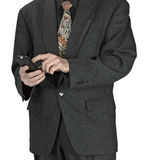 Business man sending a text message Stock Images