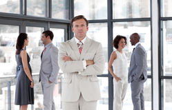 business man senior standing team royaltyfria foton