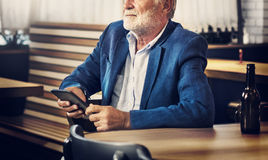 Business Man Senior Using Device Concept Royalty Free Stock Image
