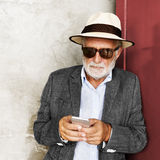 Business Man Senior Using Device Concept Stock Images
