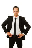 Business man serious with hands on hips Stock Images