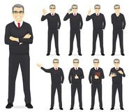 Business man set. Different gestures isolated vector illustration vector illustration