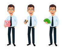 Handsome businessman in office style clothes stock illustration