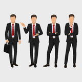 Business man set. Vector collection of full length portraits of business man. Elegant businessman in a suit and tie Royalty Free Stock Photos