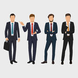 Business man set. Vector collection of full length portraits of business people. Elegant businessman on white background Stock Photos