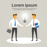 Business Man Shake Hand Agreement Concept Light Bulb. Flat Vector Illustration Stock Photography