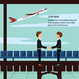 Business man shake hand greet partners airport with airplane and text. People happy to meet in airport chair sky and plane taking off Stock Image