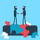 Business Man Shake Hand Puzzle Background Agreement Concept Stock Photo