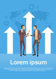 Business Man Shake Hands Over Graph Arrow Up World Map Background Success Agreement Concept Royalty Free Stock Photos
