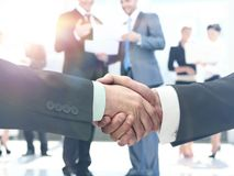 Business man shaking hand to partner Royalty Free Stock Image