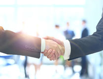 Business man shaking hand to partner Stock Images
