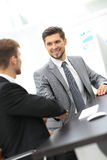Business man shaking hand to partner Royalty Free Stock Photography