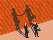 Business man are shaking hands with shadows on the wall. Co-operation concept. Isometric 3d design.  illustration Stock Photos