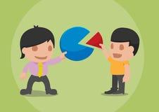 Business Man Share Pie Graph. Vector stock illustration