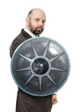 Business man shield. An image of a handsome business man with a shield stock photo