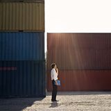 Business man with shipping containers Royalty Free Stock Photo