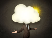 Business man in shirt and tie with a sunny cloud head concept Stock Photography