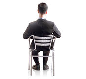 Business man shit down in single chair Royalty Free Stock Photos
