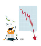 Business man shocked when checking data chart - falling down chart is confused. Businessman lose money are feeling sad because shares fall - collapse of the Royalty Free Stock Photos