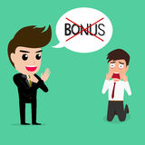 Business man shocked.he does not get bonus. Royalty Free Stock Photography