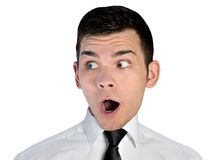 Business man shocked face. Isolated business man shocked face Stock Photography