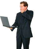 Business Man Shocked Looking At Laptop Royalty Free Stock Images