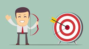 Business man shooting target Royalty Free Stock Images