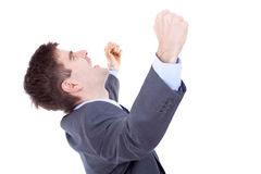 Business man shouting loudly Stock Photos
